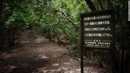 "A board sign at the entrance of the forest, talk about suicide and family pain. Also an emergency number is wrote. Aokigahar no Jukai, also knows as Suicide Forest is a forest close to the Mount Fuji, in Yamanashi prefecture. It's the second place for the number of suicides after the Golden Brigde in San Francisco. Gus Van Sant made a movie about this forest called ""Nos souvenirs"" also knows at ""The sea of trees"" release on April 2016 in France. Yamanashi, JAPAN 17/06/2015//DATICHE_1404.001/Credit:Nicolas Datiche/SIPA/1604221421 (Newscom TagID: sfphotostwo190486.jpg) [Photo via Newscom]"