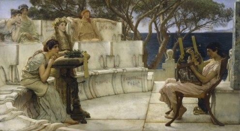 Lawrence-Alma-Tadema-oil-Sappho-Alcaeus-panel-Walters-1881